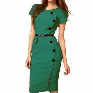 Dresses & Skirts - Emerald Green Pin-Up Style Dress